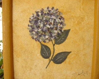 vintage,hydrangea flower,floral acrylic/watercolor painting on wood in distressed ochre wooden frame,ready to hang.