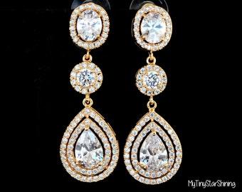 GOLD earrings Bridal Earrings Wedding Earrings Wedding Jewelry Bridal Jewelry Zirconia Earrings Bridesmaid Earrings Wedding Accessory