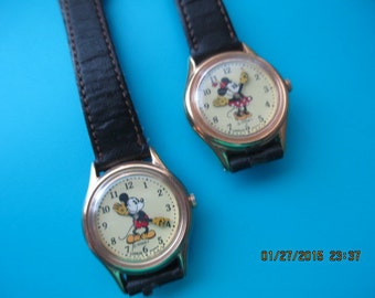 Rare highly collectible - matching vintage Minnie and Mickey watches