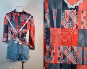 Vintage 70s Americana Patchwork Style Country Blouse/Red White Blue Lace Neck Tie/ Festival Concert Boho Hipster Top SZ M