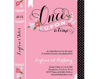 Book Birthday Invitations, Once Upon a Time Party Invitation, Printed or Printable
