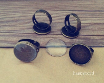 6pcs antique bronze (copper) 18mm adjustable ring bases with glass