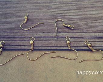 200 pcs  antique gold  copper ear hooks 19mmx21mm