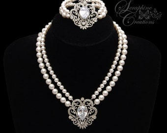 Wedding Jewelry Bridal Pearl Necklace Bracelet Wedding Jewelry Bridal Jewelry Pearls Cubic Zirconia Rhinestone Vintage Calliope KPL024