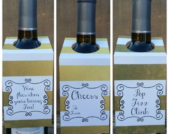 Wine Bottle Gift Tags ~ Cheers Tags ~ Wedding Favor Tags ~ Set of 3