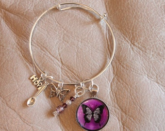 Lupus Awareness-silver metal bangle bracelet-Swarovski crystals,purple butterfly pendant,spoon,and butterfly charms, silver metal