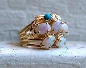Retro Vintage Opal and Turquoise 14K Yellow Gold Ring.