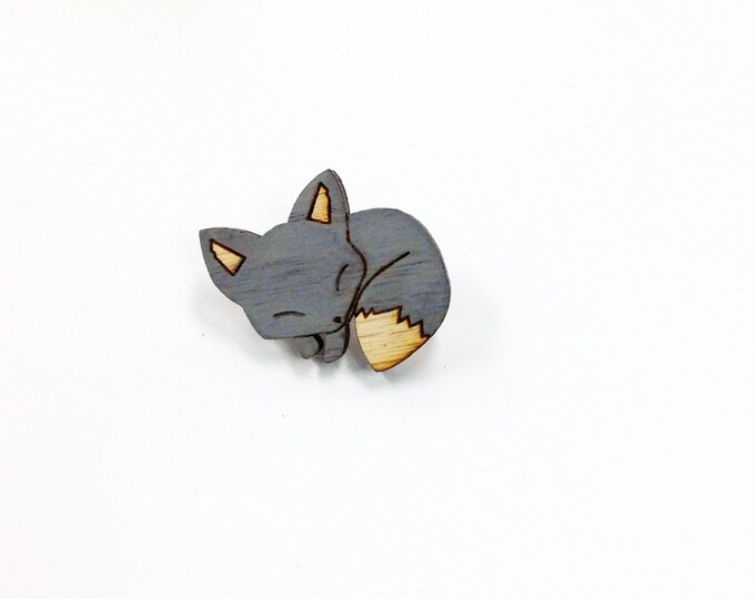 Hand Painted Grey Sleeping Fox Pin | Laser Cut Jewelry | Wood Accessories