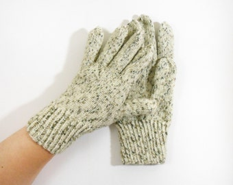 Knitted Wool Gloves - Beige, Beige, Size Large