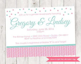 Gender Reveal Invitation - Herringbone Gender Reveal Party Invitation - Colors and Text Customizable