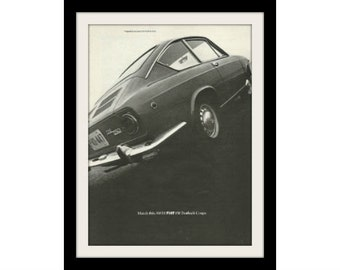 1968 FIAT 850 Fastback Coupe Car Ad, Vintage Advertisment Wall Art Decor Print