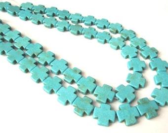 "Turquoise Howlite Swiss Cross Beads, 16x16x3mm - 15"" strand (26 crosses per strand)"