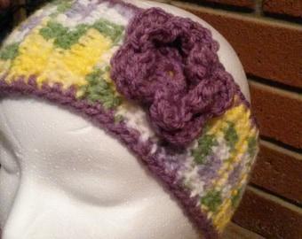 Pastel Flower Ear Warmer, Crochet Head Wrap, Adult Crochet Ear Warmer, Easter Ear Warmer, Crochet Flower, Crochet Ear Warmers, Gifts for Her