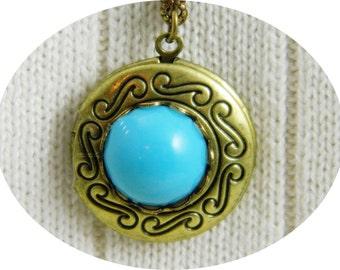 Locket, Necklace, Locket Necklace, Antique Brass, Round Locket,Turquoise, Blue Turquoise