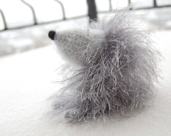 Hedgehog Crochet toy Rock soft gray woodland creatures