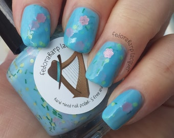 Raindrops on Roses (full size 15ml) Sky blue crelly with matte flowers indie polish by Fedoraharp Lacquer