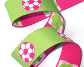 "Soccer Ball Ribbon - 1"" x 1  1/3 yds Lime, Hot Pink and White -Woven Jacquard Trim -  1 left"