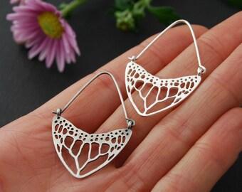 Monarch wing earrings hoops earrings - sterling silver butterfly hoops