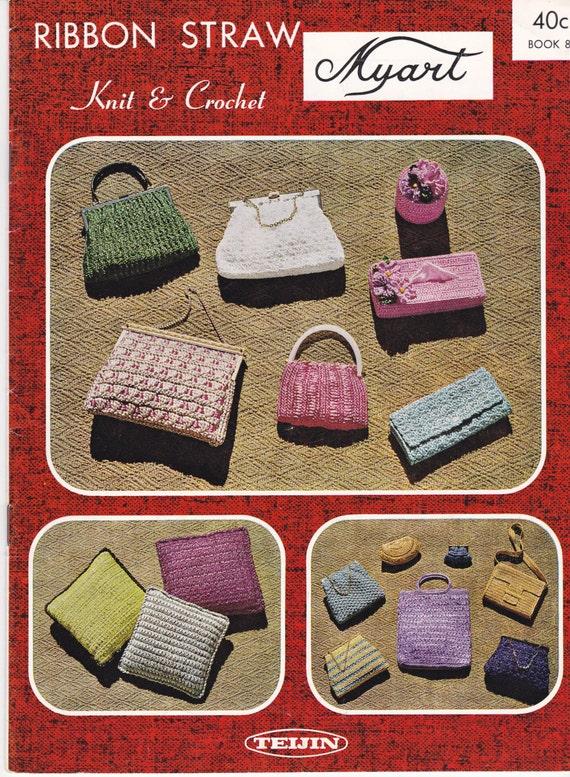Nylon Knitting Ribbon : Myart knit and crochet pattern nylon ribbon book vintage