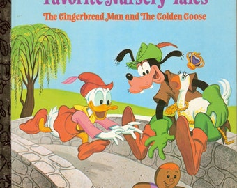 Walt Disneys Favorite Nursery Tales The Gingerbread Man and The Golden Goose Vintage Little Golden Book Illustrated