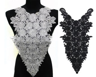 Black Necklace Collar Applique Embellished with Various Beads