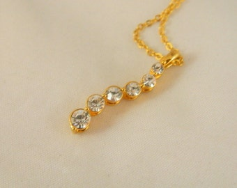 Avon Necklace / Journey Six Stone Necklace / Vintage Avon CZ or Rhinestone Necklace / Gold and Crystal Pendant