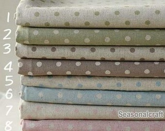 Cotton Linen Fabric, 5mm dots, polka dots dotted, diy, fabric, Vintage Style, 8 colors for choice (QT433)