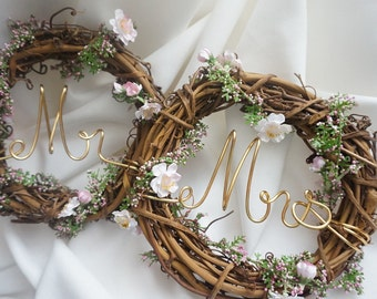 Personalized Wedding Chair Signs, Rustic Decor, Mr & Mrs Last Name RESERVED