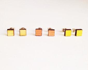 Set of three, square studs, square stud earrings, everyday earrings, small earrings, wooden stud earrings, square earrings studs, unisex