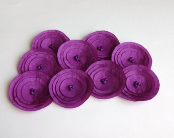 Plum Purple Silk Fabric Poppies Embellishment