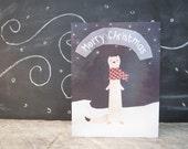 Merry Christmas Winter Weasel Card, Cute creative Card