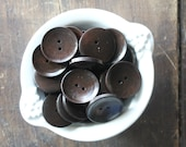 "Espresso Brown Wooden 30mm Button Set (1 1/4"") - Classic and Timeless  - Perfect for Handknit Sweater and Jackets (10) - Very Dark Brown"