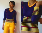 Vtg Red Stitching Yellow Stripes V Neck Navy Retro Sweater