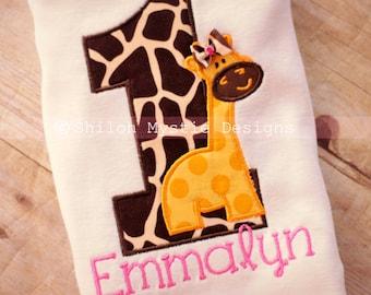 Girl Giraffe Birthday shirt-Giraffe Birthday onesie-giraffe birthday shirts-Giraffe Personalized birthday shirts-Zoo birthday party