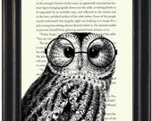 Harry Potter Book Print Owl Book  with Harry Potter GlassesPrint Upcycled Book Page Harry Potter Fandom