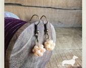 LAST ONE! Mini Pearl Cluster. Dangle Earrings -- (Vintage-Style, Beads, Peach, Romantic, Little Dangle, Bridal Jewelry, Cute, Gift Under 10)