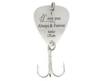 """LGU(TM) Monogrammed Personalized Hook Fishing Lure """"I Love you Always & Forever"""" with Name"""