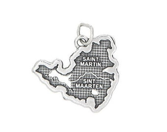 Sterling Silver Travel Island Country Map of St. Martin / St. Maarten Charm (Flat Charm)