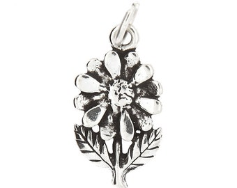 Sterling Silver Daisy Flower Charm (Flat One Side Charm)