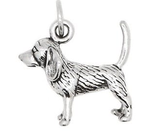 Sterling Silver Beagle Dog Charm (3d Charm)