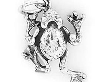 Sterling Silver Frog Charm Pendant (One Sided Charm)