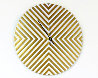 Unique Wall Clock, Trending Decor,  Gold and White Clock, Decor and Housewares, Home Decor, Hone and Living, Unique Wall Clock, House