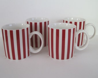 Red Striped Coffee Mugs - set of four
