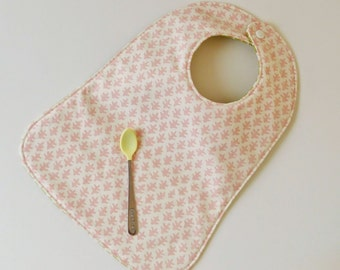 Toddler Bib, Pink and Green Reversible Feeding Bib, Sister Parish and Hable Construction Fabrics