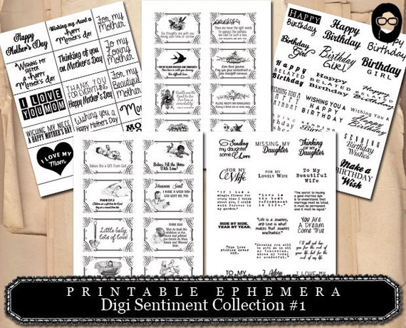 Digi Sentiment Collection #1- 7 Page INSTANT DOWNLOAD