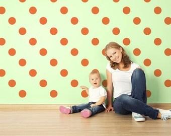 Orange Polka Dots Wall Decals