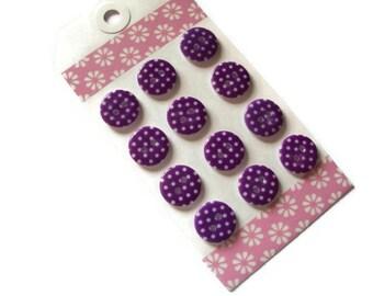 Purple  Round Polka Dot Resin Buttons - Polka Dot Round Buttons - Polka Dot Buttons