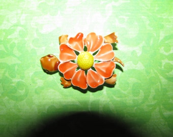 Vintage Cute Orange Yellow Brown Flower Power Enamel Turtle Brooch Pin