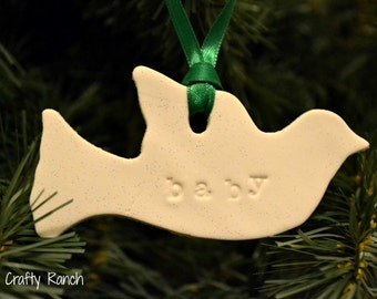 Personalized Polymer Clay Dove Ornament