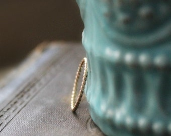 14K Gold Filled Skinny Twist Stacking Ring - Thin Rope Ring